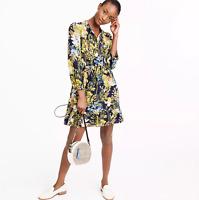 J.Crew Silk ruffle dress in watercolor floral Navy Floral Size XXS item #H6295 J