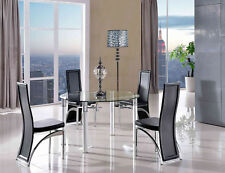 Torino Round Glass and Aluminium Extending 74 - 120 Cm Dining Table With 4 Black Alisa Chairs