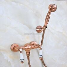 Antique Red Copper Wall Mounted Bathroom Hand Held Shower Faucet Set yna300