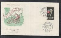 SAAR THE SAARLAND Postcard 1955 World Cup cross-country bicycle  (I)