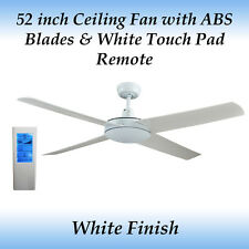 Genesis 52 inch White Ceiling Fan with ABS Blades and White Touch Pad Remote