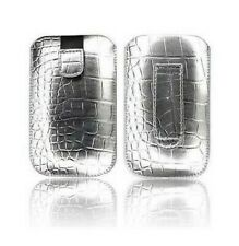 Cover Case Pouch Croco IPHONE 4 4S Argent Silver Silver Grey