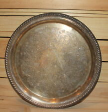 Vintage round silver plated floral platter tray