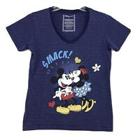 Disney Minnie V Neck Tee T-Shirt Womens Size M Medium Purple Blue Short Sleeve