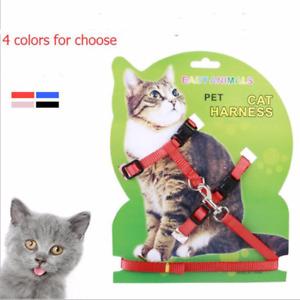 4Color Nylon Pet Cat Harness Leash Adjustable Traction Belt Kitten Halter Collar