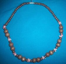 Wooden & natural Rose Quartz chips Beaded Choker Magnetic clasp Necklace 16.5 NR