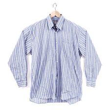 Christian Dior Monsieur Shirt 16 1/2 Men's Long Sleeve Blue Striped Button-Up