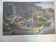 "Vintage Currier & Ives America Color Print, Life In The Woods ""Starting Out"""