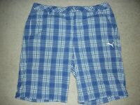 Men's PUMA Golf Dri Fit Blue Plaid Flat Front Shorts Size 36