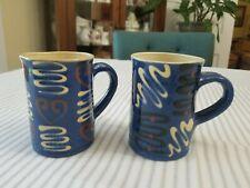 Vintage Set of 2 Hand Thrown Studio Art Pottery Coffee Cups Mugs Blue Geometric