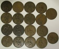 Lot of 18 English British Britain UK large One Penny Coins 1910 - 1927 KM 810