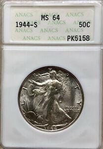 1944 S ANAC's MS 64 Walking Liberty Silver Half Dollar OLD SLAB--BREAKOUT?