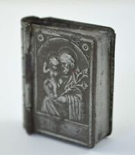 OLD VINTAGE MINIATURE METAL BOOK BIBLE HINGED BOX