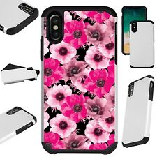 Fusion Guard For iPhone 6/7/8 PLUS/X/XR/XS Max Phone Case PINK WHITE FLOWER