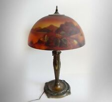 Pittsburgh art nouveau lamp with reverse painted glass shade