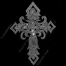 "Rhinestone Transfer "" Twisted Crystal Cross "" Hotfix, Iron On, Religious"