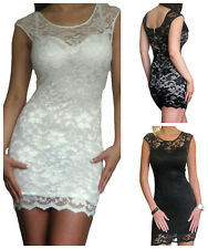 Ladies Lace Dress Stretch Bodycon Evening Party Size 8 10 12