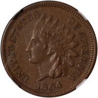 1864 'BR' Indian Cent NGC AU55BN Great Eye Appeal Nice Strike