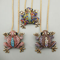 Women's Multi-Color Crystal Frog Pendant Betsey Johnson Long Necklace/Brooch