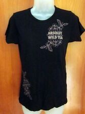 ABSOLUT VODKA small tee Wild Tea liquor T shirt leaves Country of Sweden booze