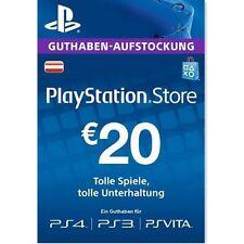 AT PSN Network Card 20€ EUR - 20 Euro Playstation Prepaid Key Sony PS3 PS4 PSP