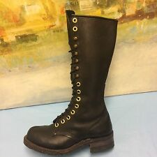 """Carolina 15.5"""" Tall Linesman Boots Black Leather M7.5/L9 Logger Lace Up work"""