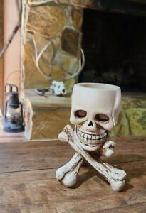 Skull and Bones Votive Candle Holder Resin Magic or Halloween Decor