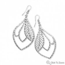 Large Silver Tone Cut Out Leaf Drop Earrings NWT!!