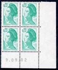 TIMBRE DE  FRANCE NEUF COIN DATE N° 2181 ** EN BLOC DE 4 /////  09/09/1982