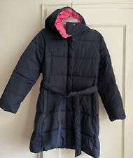 CREWCUTS GIRLS Navy Blue Belted Long Puffer Coat SIZE 10 EUC