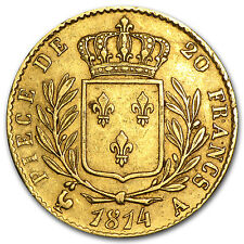 1814-1815 France Gold 20 Francs Louis XVIII Avg Circ - SKU #12742