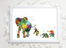 elephant family gloss Print a4 paint splat picture unframed watercolour nursery