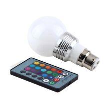 3W B22 16 Colors RGB LED Light Lamp Bulb W/ Remote Control 85-240V GHGM