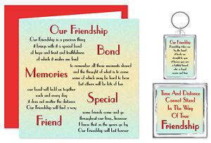Friendship Verse Gift Set - Card,Keyring & Magnet - Best Friend Birthday Present