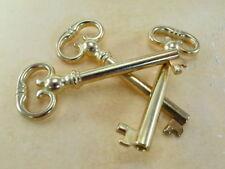 Old Vintage Style Open Barrel Skeleton Key -Brass Color - Lot of 3