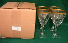 Lenox TUXEDO GOLD Water Goblets SET OF FOUR MINT IN BOX More Available