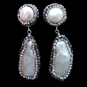 natural Biwa freshwater Pearl Trimmed With Marcasite Stud Drop Earrings