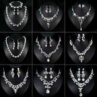 Elegant Women Crystal Rhinestone Wedding Bridal Necklace Earrings Jewelry Set