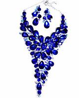 Showstopper Large Breastshield Bib Necklace Rhinestone Crystal Earrings Drag Blu