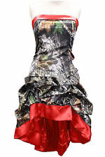Short A-Line Camo Evening Dress Formal Camouflage Lace Up Prom Party Bridal Gown