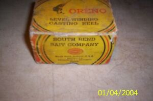 Vintage South Bend Oreno fishing reel box only no.65 casting reel box only