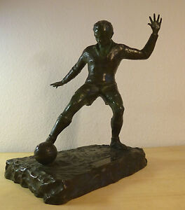 Art Deco Bronze Figur Fußballspieler Fußball Sport Etienne Forestier groß 44 cm!