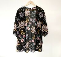 H&M Floral Duster Kimomo Size Medium (12/14) Black Lightweight
