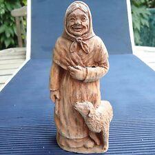 Sculpture Bergère Bois Décoré Peint Main SIC France 17 x 8x 6,5 Cm -236 Grs Vitr