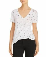 New Rails Cara Distressed Stars Tee Tshirt Linen Tencel White Slouchy S M