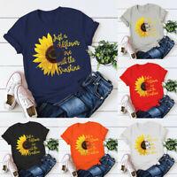 Women Summer Daisy Print Short Sleeve Shirt O Neck Casual Tops Blouse