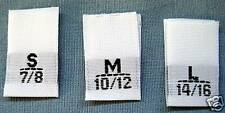 99 WOVEN LABELS, SIZE TAGS  S 7/8, M 10/12, L 14/16