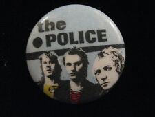 Police-Color-Striped Shirt-Rock-Pin Badge Button-80's Vintage-Rare