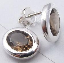 """925 Pure Silver Original SMOKY QUARTZ Oval ART Studs Earrings 0.4"""" 2.5 Grams"""