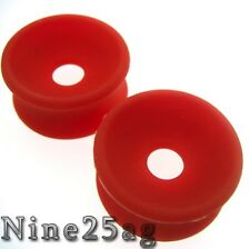 PAIR RED 00G 10MM CONCAVE SOFT SILICONE PLUGS TUNNELS